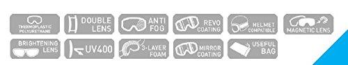Arctica ® G-105 Skibrille mit Magnetische Magnetische Magnetische Wechsellinse. Doppellinsensystem. Anti Nebel Behandlung. B01MSYYUIW Skibrillen Ästhetisches Aussehen e4fb1c