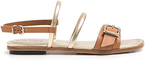 Raffinato Sandalo In Pelle Cuoio Con Listini Platino - Xxw0tk0y480 D90s002 Taglia