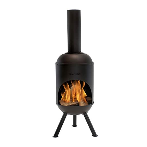 Sunnydaze Steel Outdoor Wood-Burning Chiminea Fire Pit, 5-Foot, Black - SPACE-SAVING SIZE: 19-inch diameter x 22 inches wide x 60 inches tall; weighs 30.6 pounds; Sits 9.5 inches off the ground; Three legs: 12.5 inches long x 2 inches diameter; Wood opening: 18-inch diameter x 30 inches tall; flue: 6.25 inches diameter x 20 inches tall LONG-LASTING DESIGN: Cold-rolled steel construction INCLUDES 1 CHIMINEA AND 1 WOOD GRATE: 4mm thick steel 15-inch diameter wood grate with 1.5-inch gaps between the bars - patio, outdoor-decor, fire-pits-outdoor-fireplaces - 31kZOaDnjxL. SS570  -