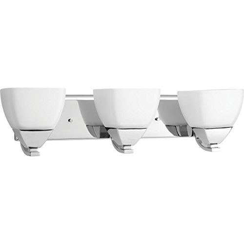 Progress Lighting P2702-15 Contemporary/Soft 3-100W Med Bath Bracket, Polished Chrome