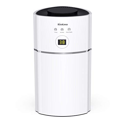RINKMO Portable Mini Dehumidifiers for Small Space Up to1900 Cubic Feet(215 sq ft), QuietCompact Home Electric Dehumidifier for Kitchen, Bedroom, Basement, Caravan, Office, Garage, RV