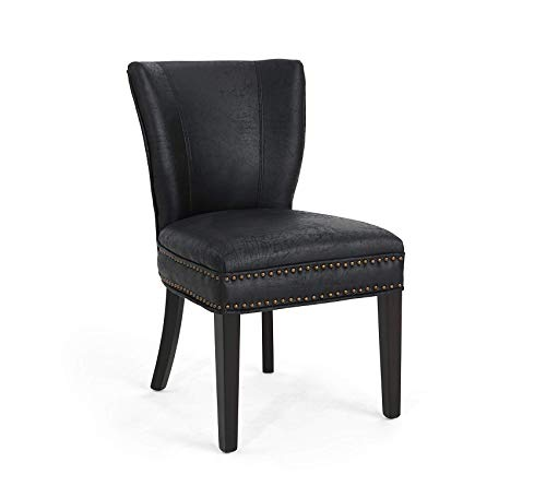Wood & Style Furniture Underwood Traditional Microfiber Dining Chair, Black, Home Office Commerial Heavy Duty Strong Décor