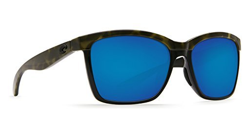 Costa Del Mar Anaa Sunglasses Shiny Olive Tort on Black/Blue Mirror - Playa Sunglasses Costa