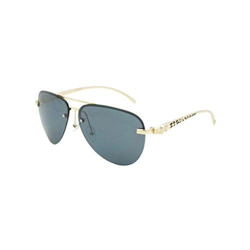 Georgio Caponi Rimless Leopard Frame Aviator Sunglasses (Gold, ()