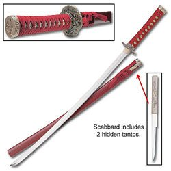 "UPC 760729111882, Samurai Sword - Traditional Red Samurai Sword, 38 1/4"" L"
