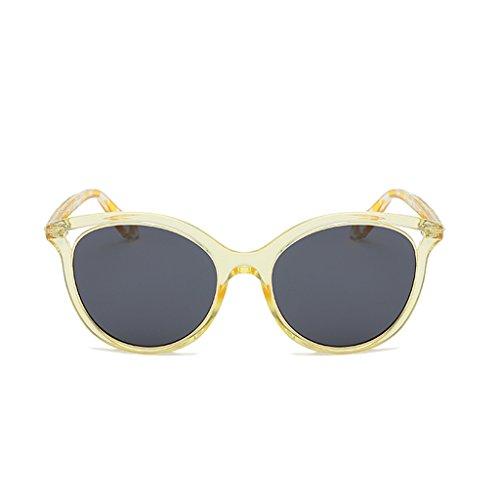 魔術政令枝YUBINtaiyangjing サングラスビーチサングラス女性ラウンドフェイスファッションピンク透明な女性の偏光眼鏡ネット赤メガネ (色 : A)