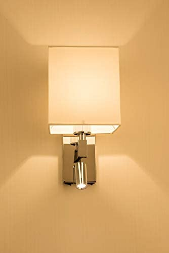 HARPER LIVING 1xE27/ES Up Down Wall Light with Adjustable LED Reading Light, 1 USB Port and 2 On/Off Switches, Polished Chrome Finish, White Fabric Shade (Square Shade)