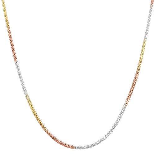 Tri-color Gold Over Sterling Silver 1.4mm Popcorn Chain (18 (Tri Color Necklace)