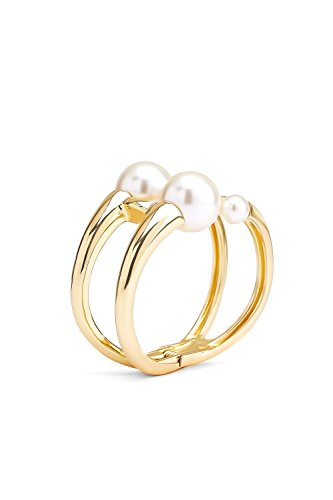 Faux Pearl Cuff Bracelet Hinged Bangle Imitation Pearls Two Row Wrap Metal Wristband (gold, pearl, (Pearl Double Row Bracelet)