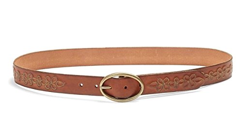 Lucky Embossed Belt (Lucky Brand - Women's - Metallic Floral Embossed Brown Leather Belt)