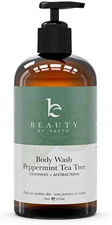 Peppermint Tea Tree Body Wash - Organic Body Wash, Natural Body Wash for Women & Mens Body Wash Tea Tree Soap, Shower Gel Body Wash For Men Tea Tree Oil Body Wash Organic Antifungal Body Wash Pump (1)