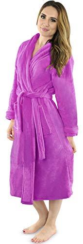 NY Threads Women's Fleece Bathrobe- Shawl Collar Ultra-Soft spa Robe- Comfortable, Absorbent and Durable (Medium, Purple)