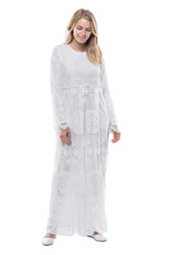 ModWhite White Chrysanthemum Dress (XX-Large)