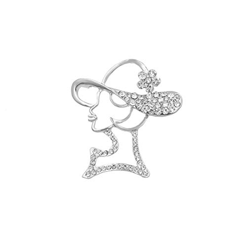 AHDUNCSIOWHG Crystal Sexy Lady Brooch Pins Head Hat Party Girl Fashion Jewelry Cute Brooches for Women Clothing Accessories Silver Plated - Cameo Brooch Chain
