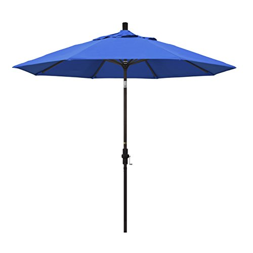 California Umbrella 9' Round Aluminum Market Umbrella, Crank Lift, Collar Tilt, Bronze Pole, Royal Blue Olefin