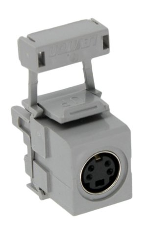 Leviton 40734-SVG QuickPort 110-Type To Female S-Video, Grey (S-video Bulkhead)
