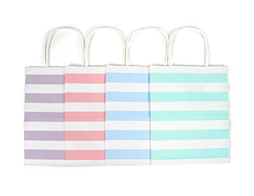 12CT MEDIUM PASTEL STRIPE BIODEGRADABLE, FOOD SAFE INK & PAPER KRAFT BAG WITH WHITE STURDY HANDLE (Medium, - Color Pastel Stripes