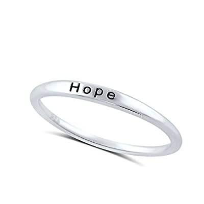 Sterling Silver Thin Stackable Hope Ring (Size 4 - 11)