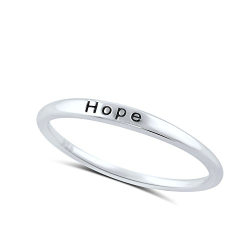 Hope Stackable Ring - Sterling Silver Thin Stackable Hope Ring - Size 4