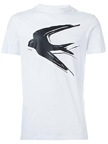 MCQ ALEXANDER MCQUEEN swallow print T-shirt, White (2XL)