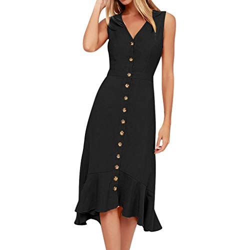 Shisay Women's Solid V-Neck Sleeveless A-line Mid Dress with Buttons Ruffles Hem Dress Black