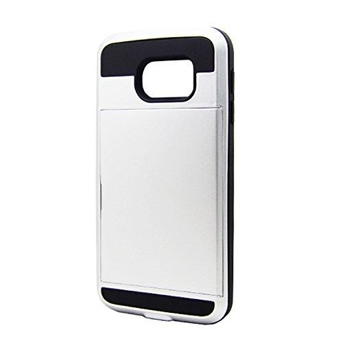Telefon-Kasten - TOOGOO(R)Karte Tasche Stossfeste Duenne Hybrid Mappe Abdeckung fuer Samsung Galaxy S6 Weiss