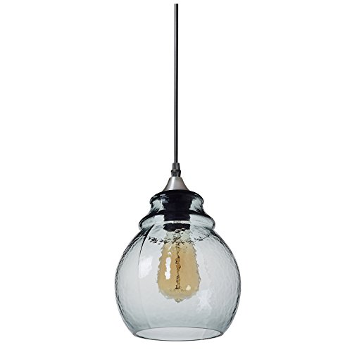 - Casamotion Pendant Light Handblown Glass Drop Hanging Light, Glass Bell Pendant, Light Grey Blue Glass Shade, Brushed Nickel Finish, 11''