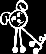 Dog Curly Tail Stick Figure Family stick em up White vinyl Die Cut vinyl Decal sticker for any smooth surface