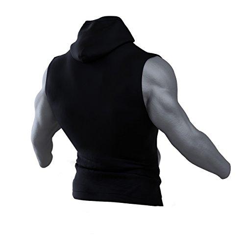 Steely-Sports Herren Bodybuilding Hoodie ärmellos / Sleeveless Kapuzen Shirt / Kapuzenpullover Kapuzenshirt ohne Ärmel / Farbe: schwarz