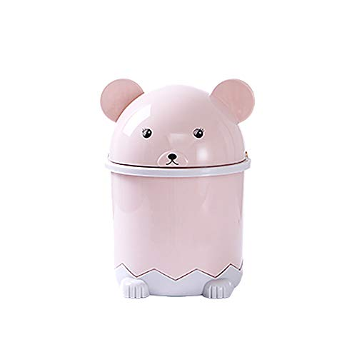 (Amiley Cute Round Plastic Small Trash Can Wastebasket, Garbage Container Bin for Bathrooms, Powder Rooms, Kitchens, Home Offices, Kids Rooms - Pink,Sky Blue,Green (Pink))