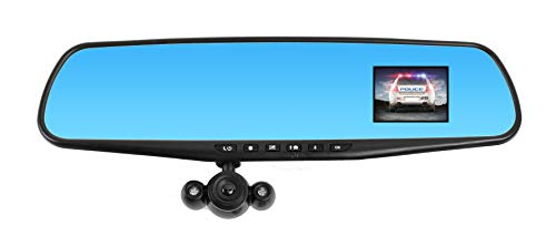 "Official HD Mirror Cam – As Seen on TV Dash Cam 350°, Motion Detection, 2.5"" LCD, 720P HD, Dashboard Camera Video Recorder with 16GB Micro SD Card, Loop Recording, Night-Mode (High Capacity Storage)"