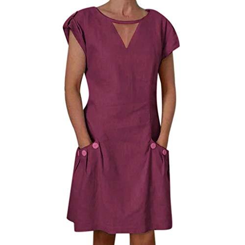 ✔ Hypothesis_X ☎ Women's Short Sleeve Button Mini Dresses Linen V Neck Mini Dress Evening Party Dress with Pocket Wine ()