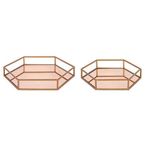 Kate and Laurel Felicia Nesting Metal Mirrored Decorative Trays, 2 Piece, Rose -