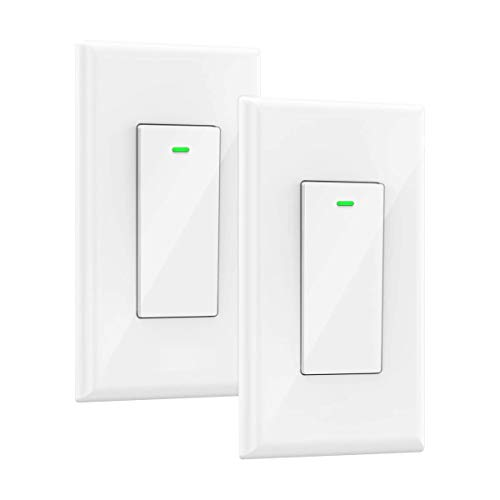Smart Switch, Works with Alexa and Google Home, Voice control, No hub Required, Timing Synchronization, Suit for 1/2/3/4 Group Type Switch Box Micmi, Neutral wire required, Smart light switch 2pack