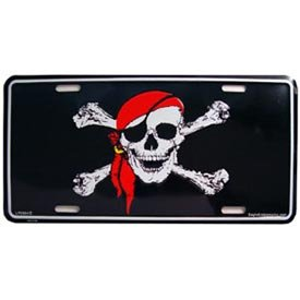 - Skull and Crossbones with Pirate Scarf License Plate