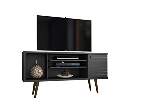 Manhattan Comfort Liberty Mid-Century Modern Living Room TV Stand, Small, Black (Black Tv Stand)