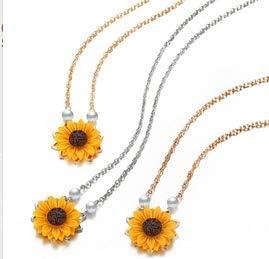 rosa schmuck gold silber vergoldet halskette sonnenblumen anhänger crystal