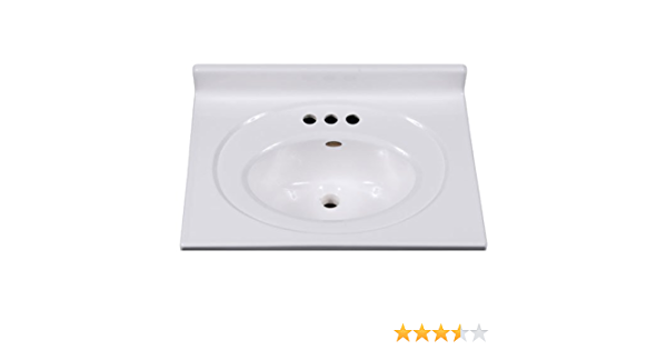 Imperial Vs2519spw Bathroom Vanity Top With Recessed Center Oval Bowl 25 Inch Wide By 19 Inch Deep Solid White Gloss Finish Vanity Sinks Amazon Com