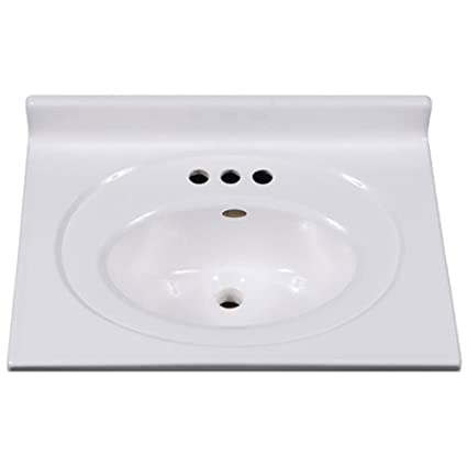 Imperial VS2519SPW Bathroom Vanity Top With Recessed Center Oval Bowl,  25 Inch Wide By
