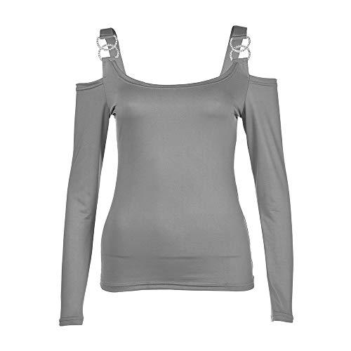 Bureau en OVERMAL Blouse Les Dcontracte Gris t Vetements Femmes Jours Haut Sexy Manches Automne Mode Chemise Shirt Fille T Vrac 2018 Chic 1 Slim Tous Tops Longue Sexy et ww1Ffgrq