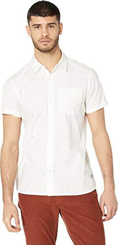 Hurley AR0813 Men's Palms Woven Top Short Sleeve Button Down Shirt, SMT Wh - - Short Top Sleeve Mens Woven