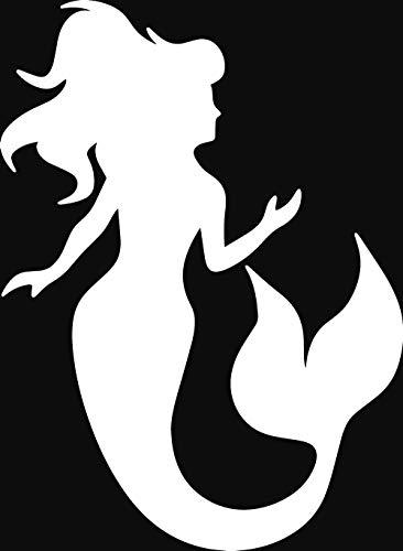 (ANGDEST Mermaid Silhouette (White) (Set of 2) Premium Waterproof Vinyl Decal Stickers for Laptop Phone Accessory Helmet Car Window Bumper Mug Tuber Cup Door Wall Decoration)