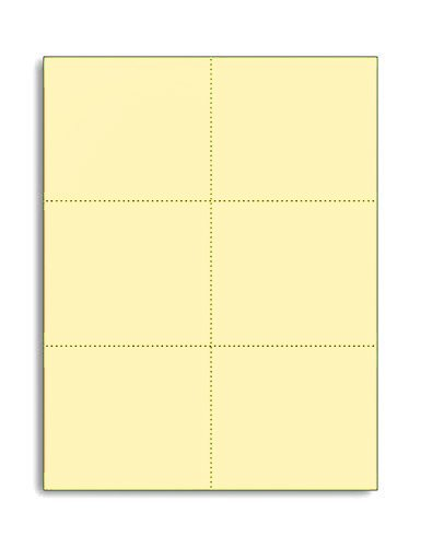 (Laser Printer Blank Perforated Cards 6 up per Page, for School registration cards, Flower Delivery Cards, Inventory Tags, Wedding Response Cards, RSVP Cards, Trip Tickets, ETC, (1200 Canary Cards))