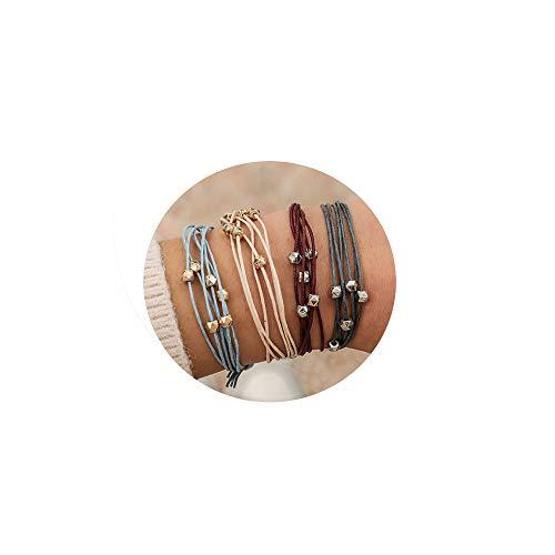 (Handmade Braided Wax Rope Adjustable Strand Wrap Bracelet Set Waterproof Wave Shell Charm Stretch Knot String Thread Bracelets Friendship Jewelry (D)