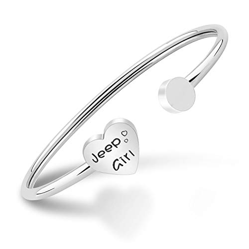PLITI Jeep Girl Cuff Bangle Gift Jeep Wrangler Jeep Owner Jewelry Jeep Lover Gift for Her (Jeep Girl Twist Silver)