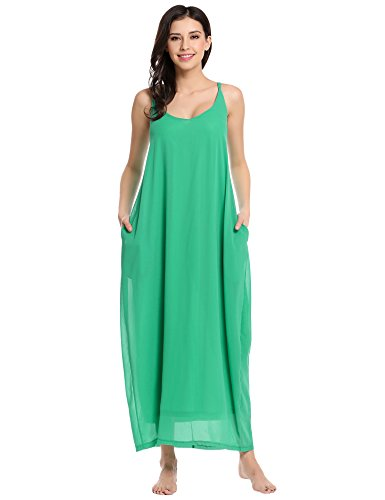 Women's Strappy Casual Loose Boho Chiffon Pocket Long Maxi Dress