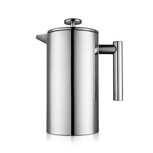 Miuly – Cafetera de émbolo French Press, 1,5 litros, de acero inoxidable, doble pared, aislada, cafetera de prensa…