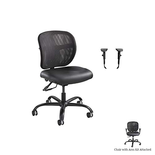 Safco Mesh Task Office Chair with Alday Arm Kit in Black by Safco