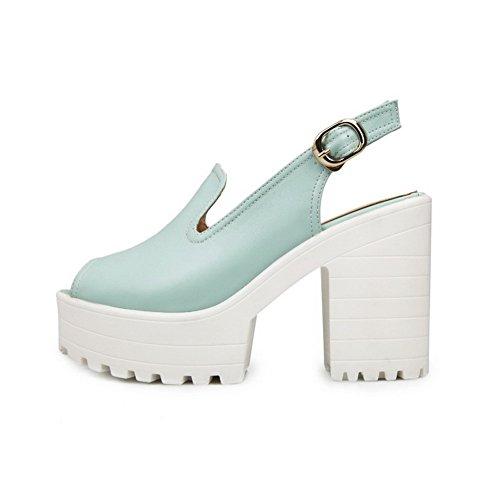 Solki Sandaalit Peep Naisten Kiinteä Pu Sininen Korkokengät Allhqfashion 6Pq5xCY
