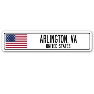 ARLINGTON, VA, UNITED STATES Street Sign Sticker Decal Wall Window Door American flag city country 8.25 x (Arlington Heights City)